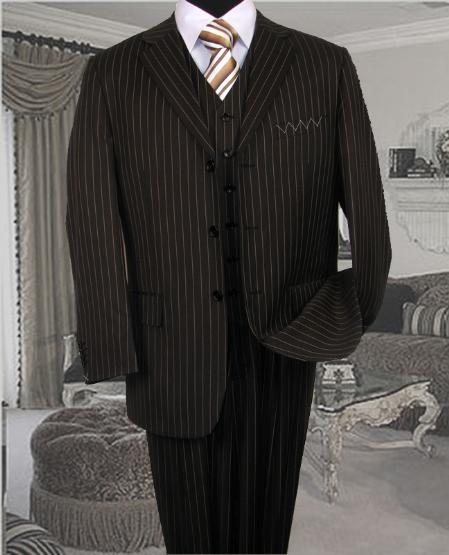 SKU: SKU5446 TS35 3PC 3 BUTTON COLOR BLACK VESTED MENS three piece suit WITH TAN PINSTRIPE $179