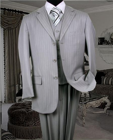 SKU: SKU5198 TS-35 3PC 3 BUTTON COLOR ASH VESTED MENS three piece suit WITH PINSTRIPE $179