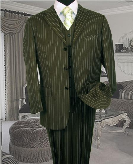 SKU: SKU5056 TS35 3PC 3 BUTTON COLOR OLIVE VESTED MENS three piece suit WITH PINSTRIPE $179