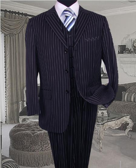 SKU:SKU3518 TS-35 Bold Chalk Pronounce 3 Piece 3 BUTTON COLOR NAVY BLUE VESTED MENS three piece suit WITH PINSTRIPE