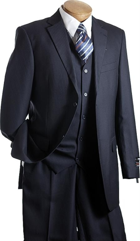 1940s Mens Suits | Gangster, Mobster, Zoot Suits 3 PC Vested Navy TNT Mens Designer affordable suit online sale $139.00 AT vintagedancer.com