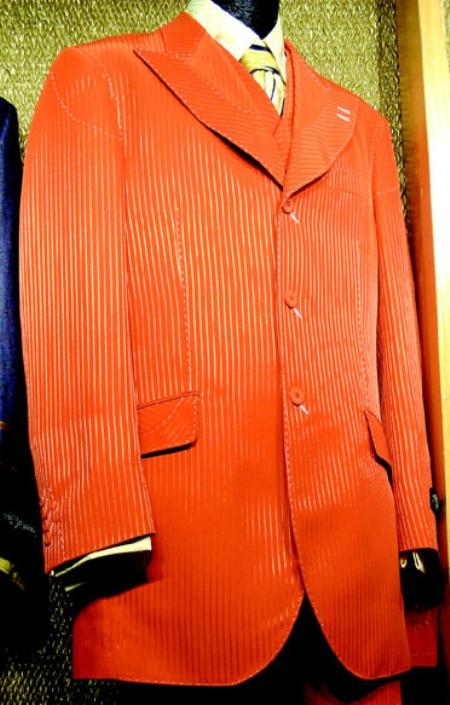SKU#RB647 3 Piece Fashion Suit Orange