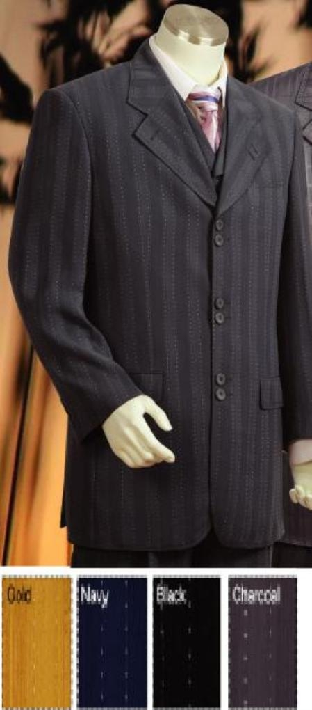 SKU#MU8259 3 Piece Pinstripe High Fashion suit in gold or Navy or Charcoal Gray or Black $199