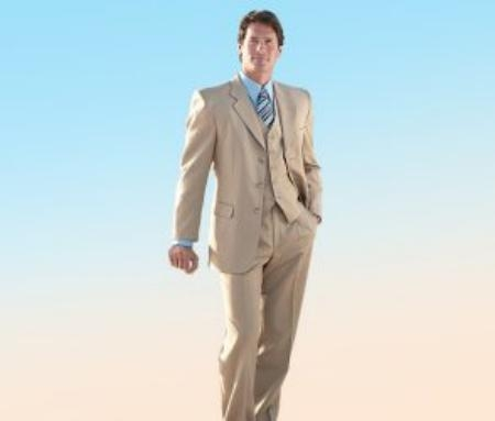 SKU#MANA_303_300A  Elegant 3 Piece Tan ~ Beige Mens three piece suit Made Crafted From Super 150s premier quality italian fabric Wool $179