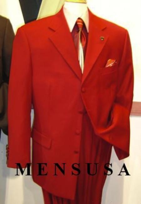 SKU# TDW526 3 Button Hot Red Dress Suits (Not Long) $139