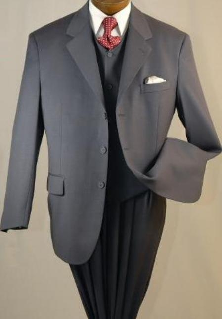 SKU#EMIL_T63 3 Buttons high Vested 3PC Mens Suits in Charcoal Gray