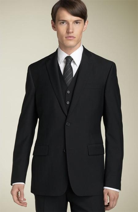 SKU#FD9121 3pc 2 Button Black Super 150s Wool Suit with Hand Pick Stitching on Lapel