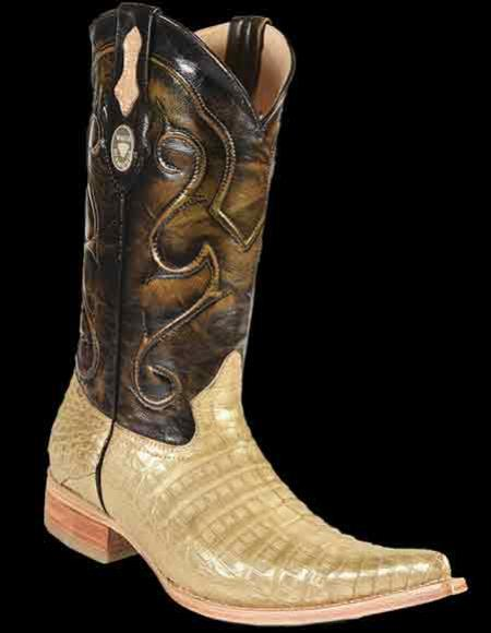 Mens Genuine Crocodile Belly 3x Toe Style Gold Cowboy Boots