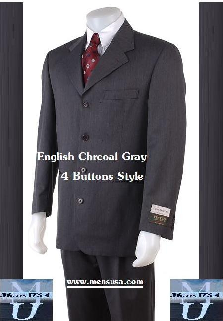SKU# DG874 4 Buttons English Gray Super 120s Real Wool Feel Touch Suits $149