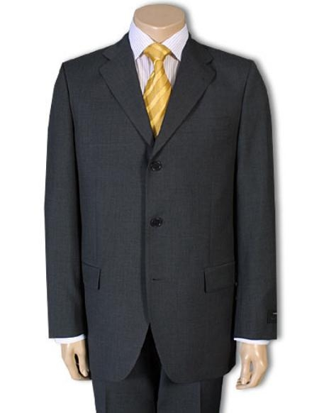 SKU# GB77 3/4 Buttons Mens Dress Business Charcoal Gray 100% Wool Super year round Wool Suit