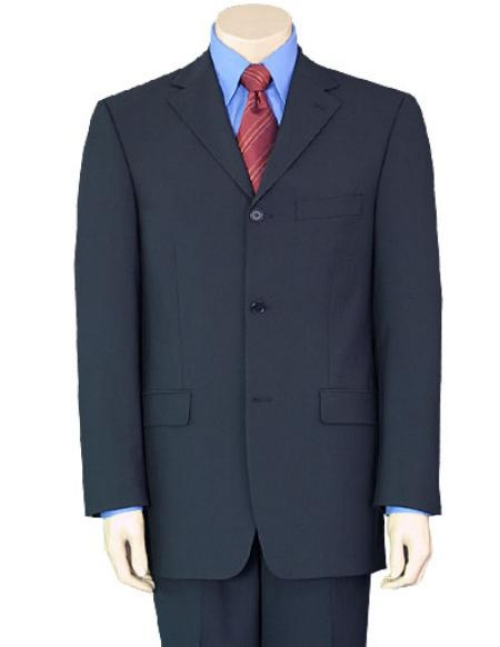 SKU# GB77 3/4 Buttons Mens Dress Business Dak Navy Blue 100% Wool Super year round Wool Suit $149