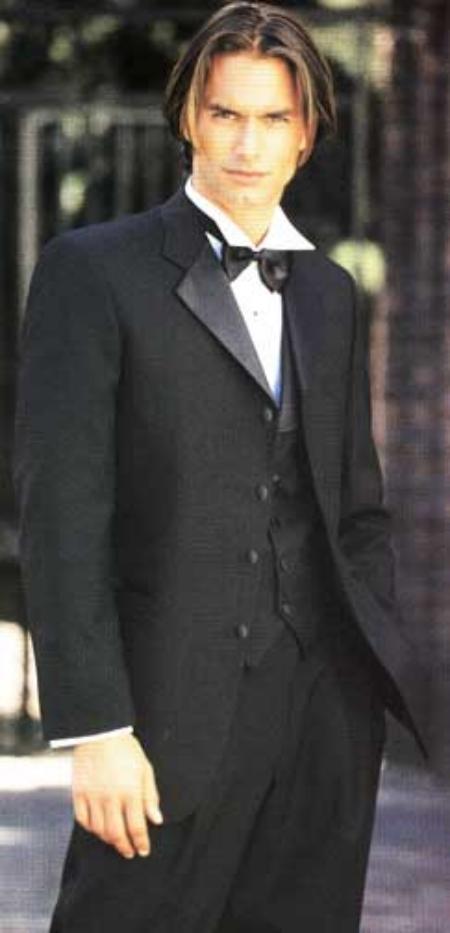 SKU# 7JK 4 Buttton Tuxedo Jacket and Pants + Vest + Shirt + Bow Tie $189