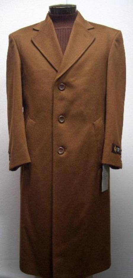SKU#Sentry 45 Inch TOBACCO~Copper~Rust classic model features button front Wool&Cashmere $750