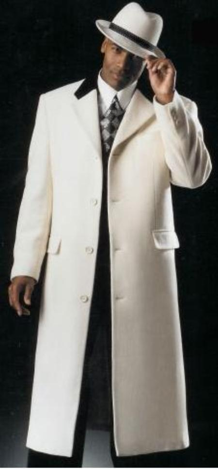 MensUSA 45 inch Single Breasted or Double Breasted Snow Pure White wool cashmere overcoat topcpat at Sears.com