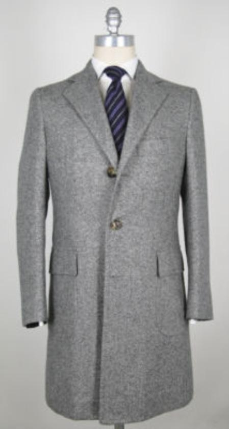 SKU#CTSL 45 inch Four-button notched lapel Light Gray (Silver) wool-cashmere 3-button overcoat $249