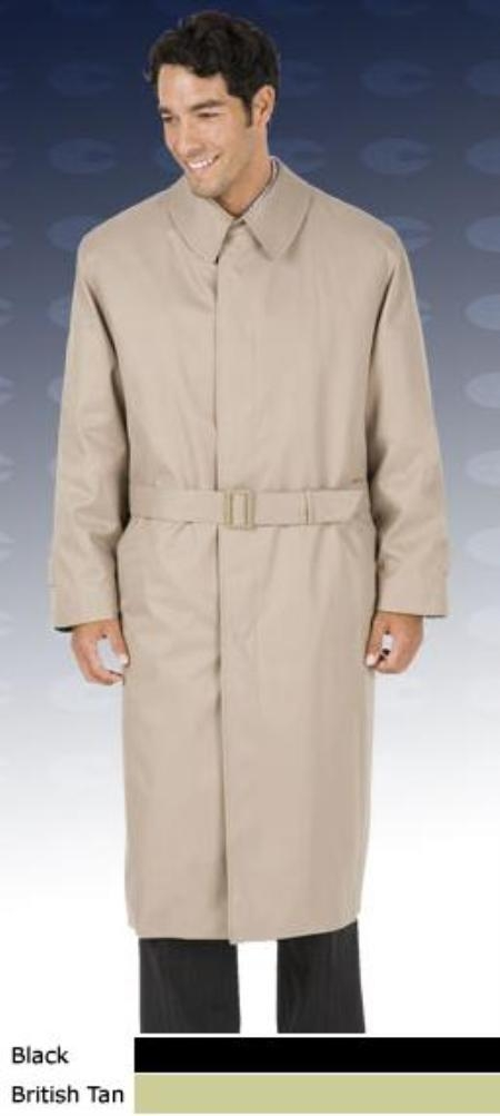 SKU# Mens 46 Inch Center Vent, Fly Front Coat With Split Raglan Sleeves, Full Belt Trench Coat ~ Raincoat Tan Khaki