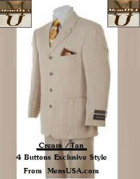 SKU# JK-9 4 Button Cream / Tan ~ Beige Super 100&#39s Wool Italian suit