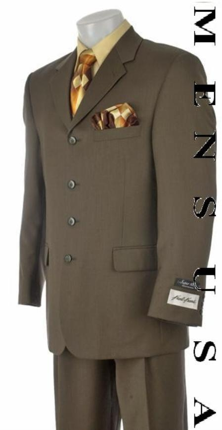 SKU# FT4G 4-Button Greener than olive Super Worsted Vergin Wool Suit consisting of a coat with trouse
