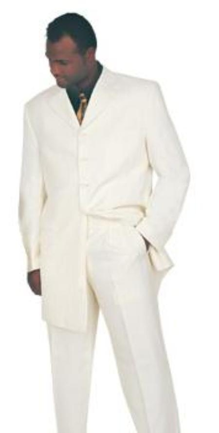 SKU#MU1542 4 Button Square Front Vested 3PC White Suit 34 Inch Jacket Wide Leg Pants $139