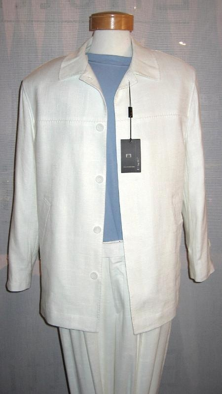 SKU#NJ871 4 Hidden Button Linen Wide Leg White Leisure Suit $119