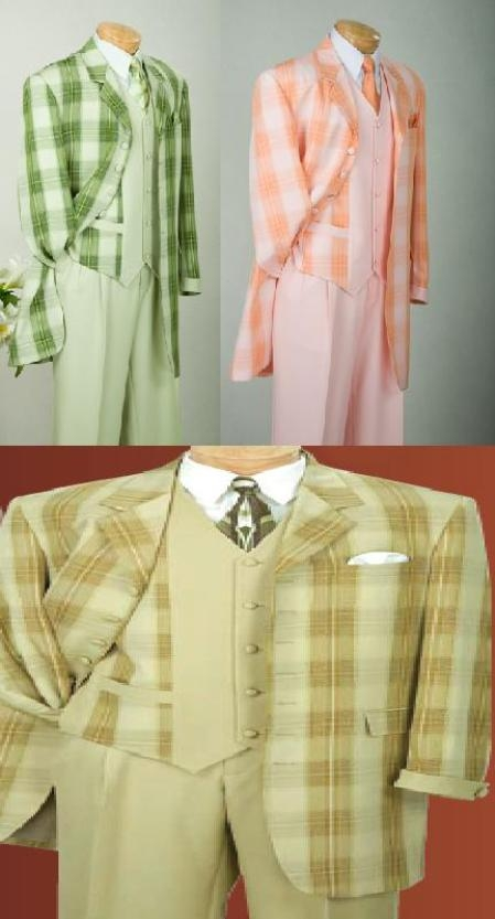 SKU#MU73PD4 Window Pane Plaid 7 Button Compose with fancy vest in Olive / Peach/ Tapel High Quality Product For Mens
