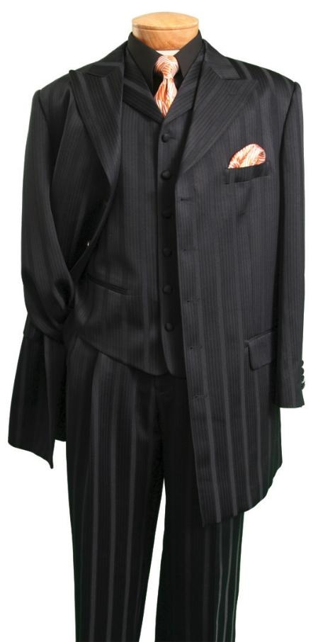 "SKU# NAJ872 53TT-5 Black Ton on Ton Shadow Pinstripe 5 buttons peak lapel, 4"" side vent with vest"