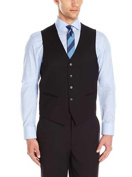 Mens 5 Button Black Micro Tech Dress Tuxedo Wedding Vest With Besom Pockets