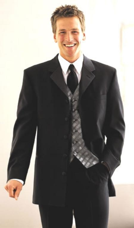 SKU# LK03 5 Buttons Long Tuxedo Suit 5button Notch, Satin lapels, Singlebreasted $149