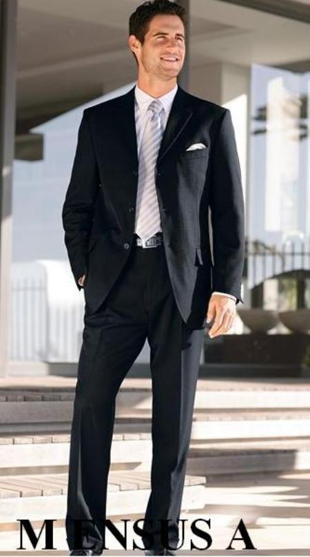 SKU# VXH849 $1295 Expensive full canvas quality SLK5 Flat Front Pants Simple Black 3 Button 100% Wool Side Vent $295
