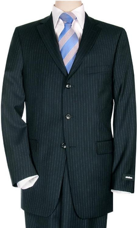 SKU# TD545i Small Navy Blue Pinstripe Super 140s Wool Man Suit $225