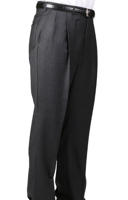SKU#IF4964 55% Dacron Polyester Charcoal Somerset Double-Pleated Slaks / Dress Pants Trouser Harwick Made In USA America