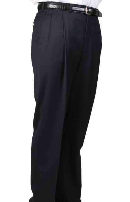 SKU#DP93764 55% Dacron Polyester Navy Somerset Double-Pleated Slaks / Dress Pants Trouser Harwick Made In USA America