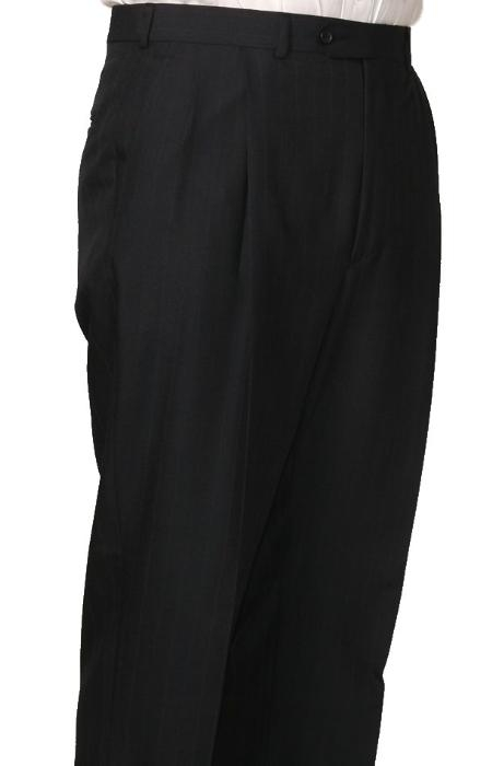 SKU#KL3886 55% Dacron Polyester Navy Somerset Double-Pleated Slaks / Dress Pants Trouser Harwick Made In USA America