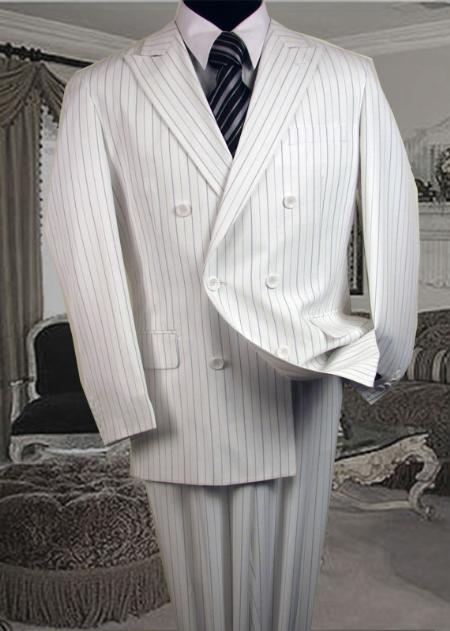 TS-56DB White & Black Stripe Seersucker Suit Executive Double Breasted Seersucker Suit