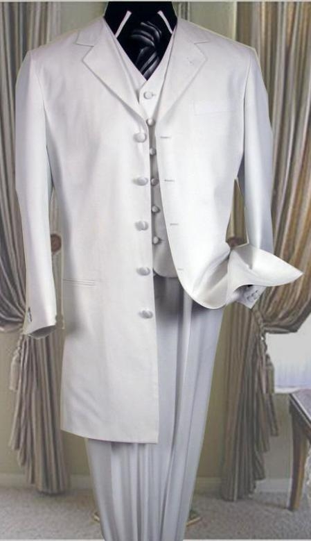 SKU#T758TA 5 buttons White 3 Pc suit with vest 38 inch length jacket Notch collar