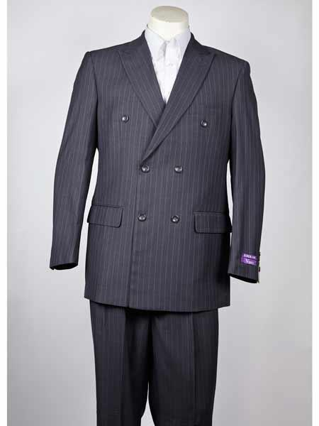 Pinstripe 6 Button Charcoal