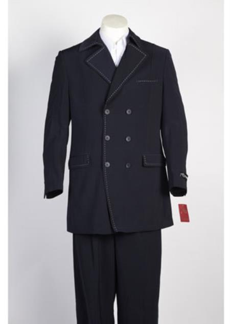 Men's 6 Button Double Breasted Suits Dark Navy Suit - 6 on 3 Buttons Unique Style With Pleated Pants