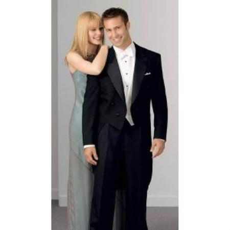 SKU#MK2021 Notch Collar 6 Buttons Pleated Pants Peak Tailcoat Black - Matching Trousers Available - 100% Wool