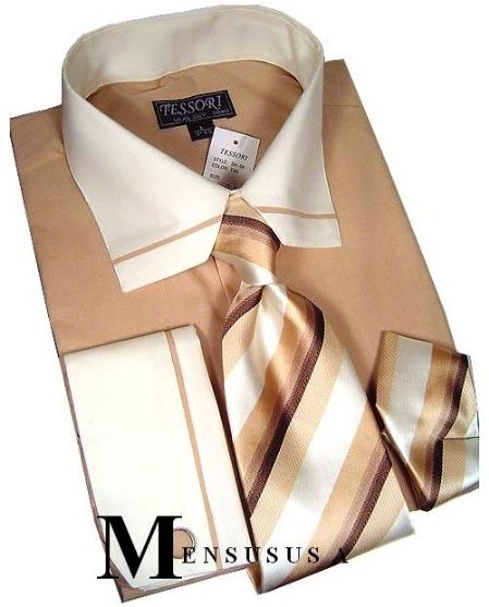 SKU# MAT645 SH06 Designer Tan Mens French Cuff Dress Shirt Set. Comes in a gift box format. $49