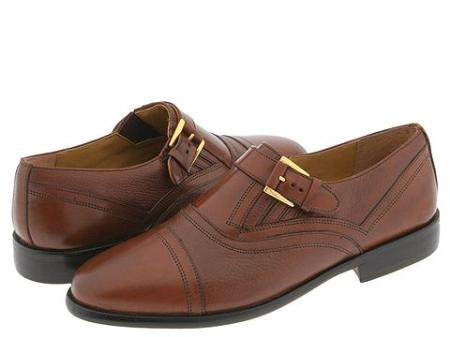 SKU# TWV131 65491 INDIA/TAN Classic cap toe slip-on with strap and buckle