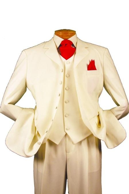 SKU#M73PP 7 Button High Vest Color Solid Ivory~Cream OFF White 38 Inch Long Jacket Fashion Long Suit $125