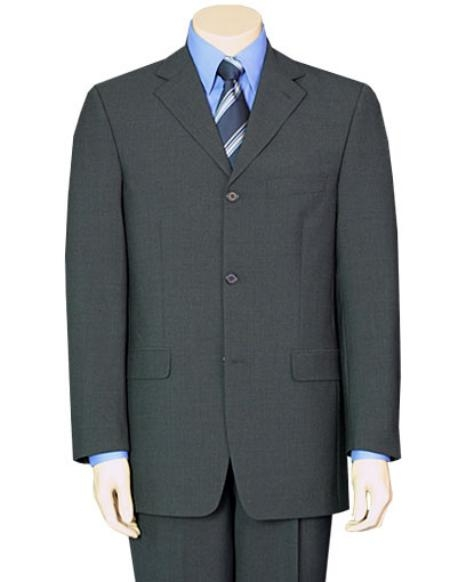 SKU#KS89 Mens Mid Gray Pure Wool Feel Rayon Viscose (SUPER 100) 3button All Colors $109