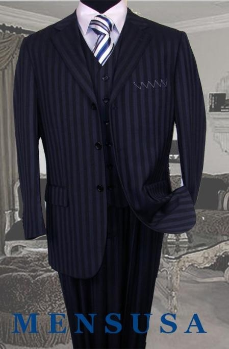SKU#V3TT-8 UMO Collezion Nicest Navy Blue Ton On Ton Shadow Pinstripe Vested 3 Button $189