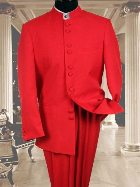 SKU#KU487 97002 Solid Color Red Mandarin Collar 2PC Mens Suit $175