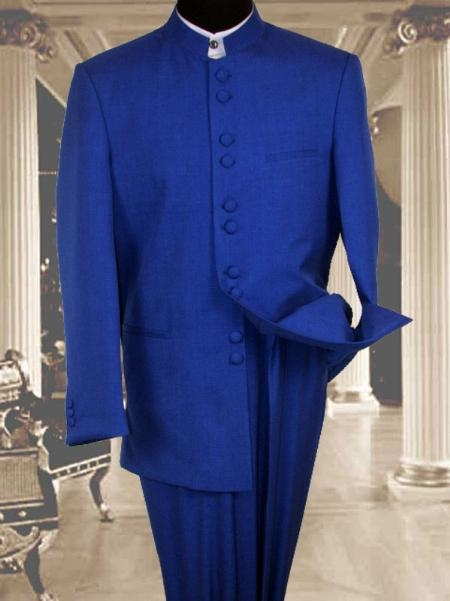 SKU#KU045 97002 Solid Color Royal Blue Mandarin Collar 2PC Mens Suit $950