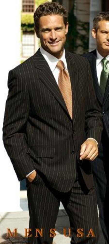 SKU# WCE911 $1295 SLK9 Brown With Smooth Pinstripe 2 Buttons Mens Dress %100 Wool Suits