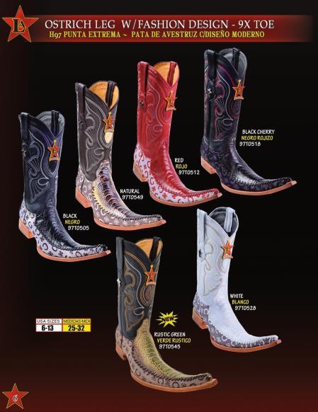 SKU#78NS Los Altos botas tribaleras Mens 9X Toe Genuine Ostrich Leg Cowboy Western Fashion Design Boots