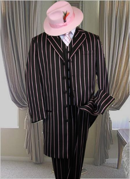 SKU# PTX721 BLACK- PINK STRIP 3PC WIDE PINSTRIP FASHION ZOOT SUIT.