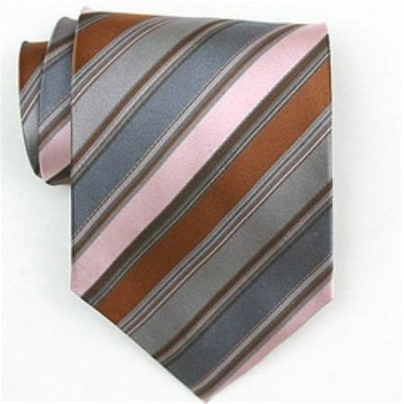 SKU#SW412AL   Silk Pink/Grey/Brown Woven Necktie $39