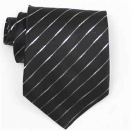 SKU#SW370AL  Silk Black/Metallic Extra Long Woven Necktie